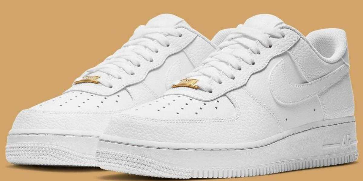 Nike Air Force 1 Triple White Gets Tumbled Leather Uppers And Gold Dubraes